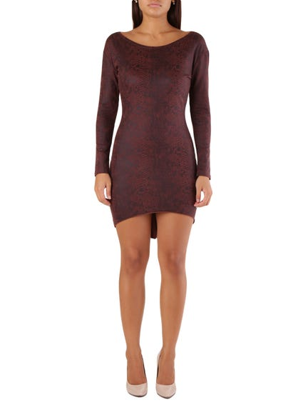 Red Long Sleeve Snake Print Bodycon Dress