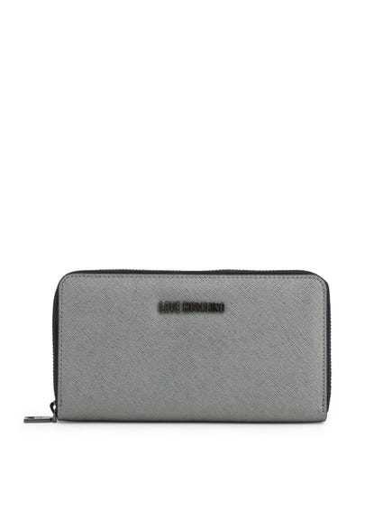 Grey Leather Logo Round Zip Wallet