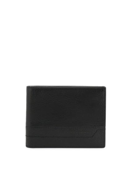 Black Bi Fold Leather Logo Wallet