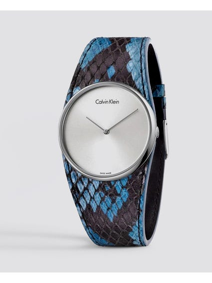 Spellbound Silver Dial Blue Leather Watch