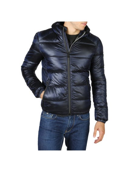 Blue Hooded Zip Padded Jacket