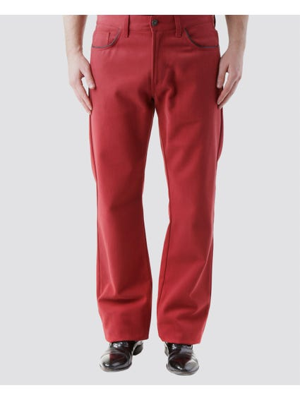 Red Plain and Black Lining Pants