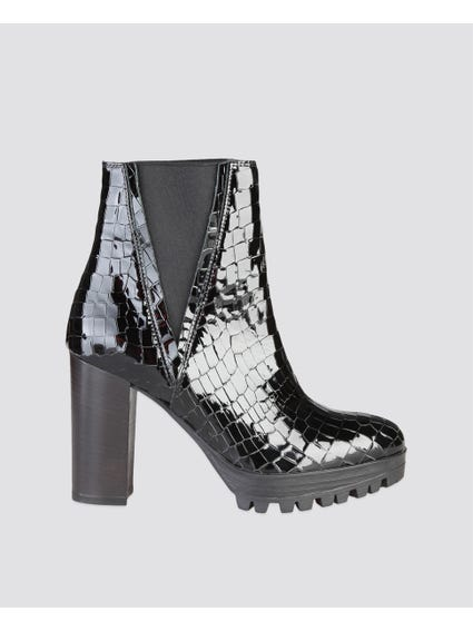 Black Beatrice Patterned Boots