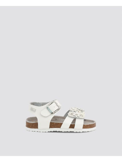 White Crystal Ankle Kids Sandals