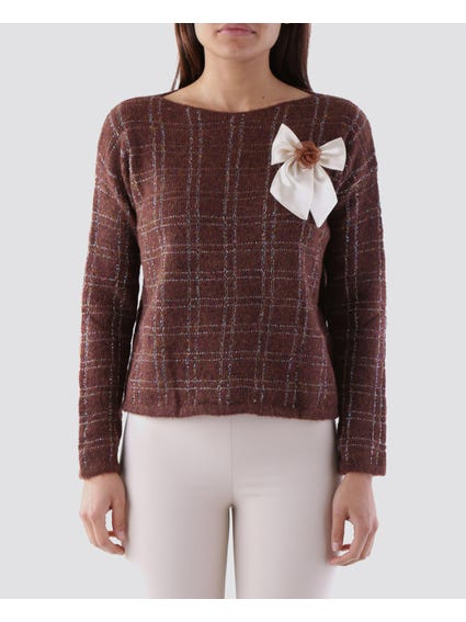 Ribbon Detail Wide Neck Knitwear