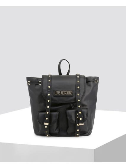 Black Spikes Embellished Backpack