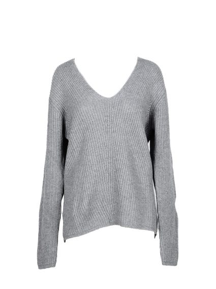 Grey V Neck  Pattern Knitwear