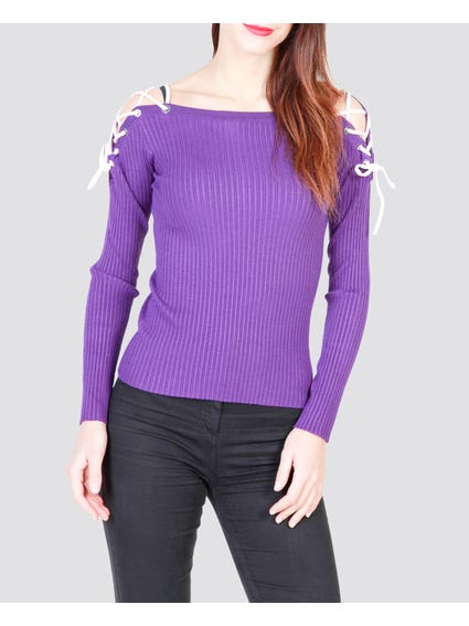 Purple Lace Knitted Sweater