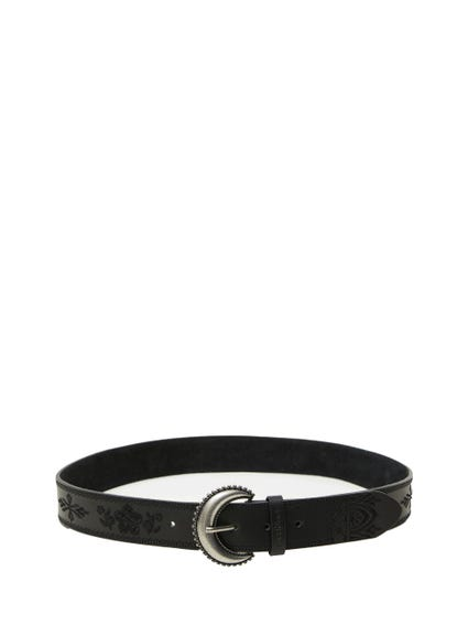 Floral Leather Buckle Pin Belt