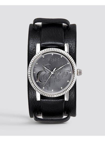Starlett Black Leather Strap Watch