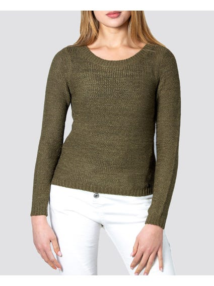 Green Knitted Long Sleeves Top