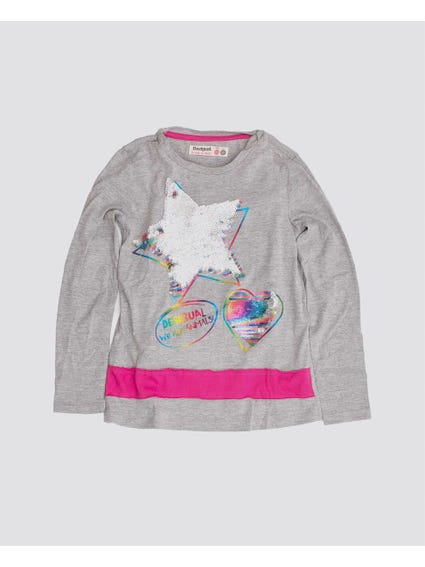 Reversible Sequins Stars Kids Top