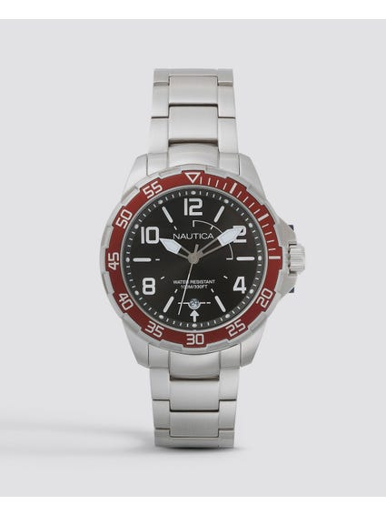 Red Pilot House Stainless Steel Watch