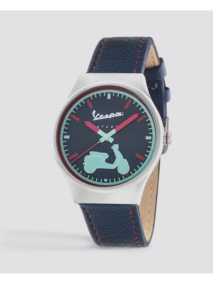 Irreverent Navy Dial Leather Watch
