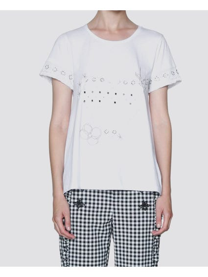 White Embroidered Short Sleeves T-Shirt