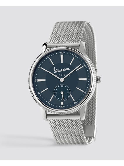 Piccolo Secondo Blue Dial Stainless Steel Watch