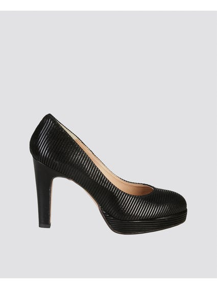 Melodies Black Long Heel Pumps