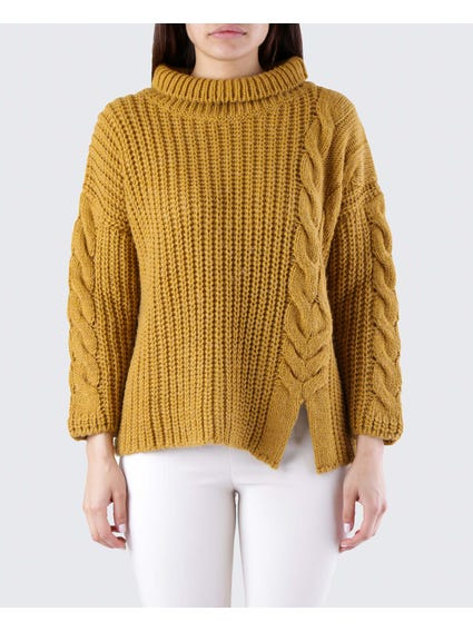 Yellow Spiral Pattern Sweater