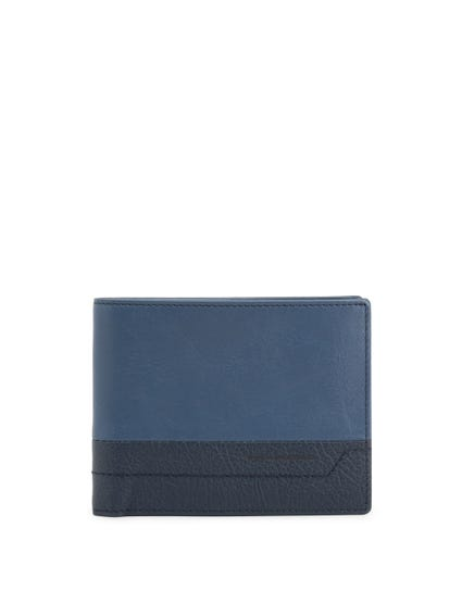 Blue Bi Fold Leather Logo Wallet