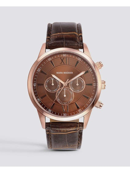 Classic Bronze Dial Analog Watch