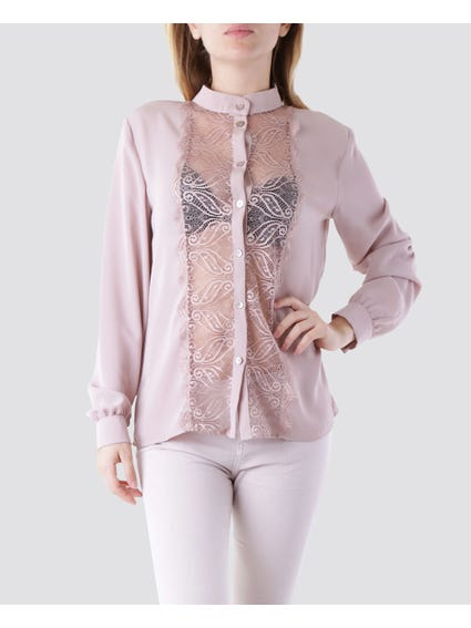 Mesh Paisley Long Sleeves Shirt