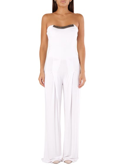 White Off Shoulder Jumpsuit