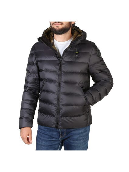Black Quilted Zipper Hooded Jacket