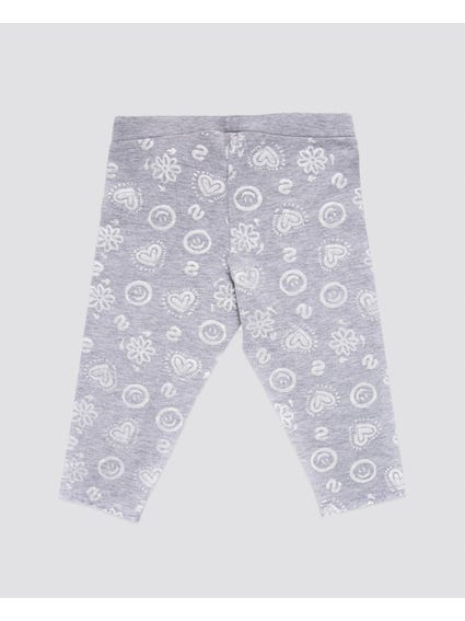 Grey Printed Kids Legging