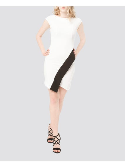 White Contrast Band Dresses