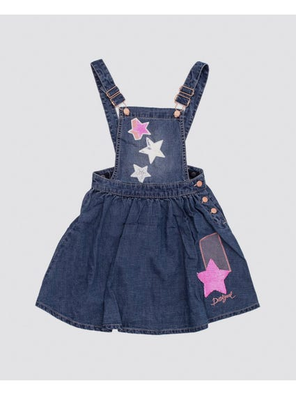 Star Detail Denim Kids Dress