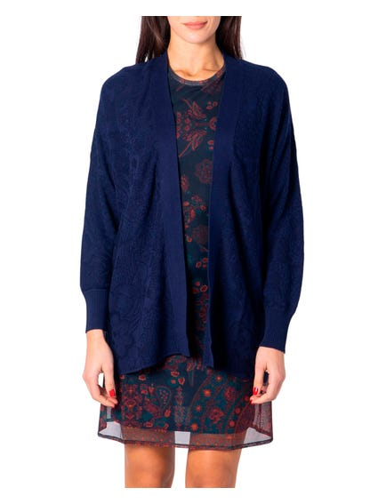 Blue Long Sleeve Open Front Cardigan