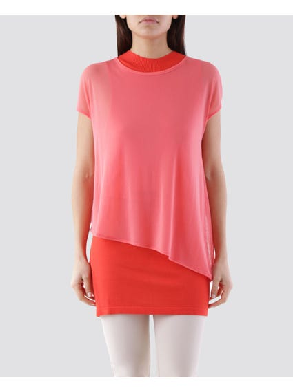Red Basic Curve Hem T - Shirt