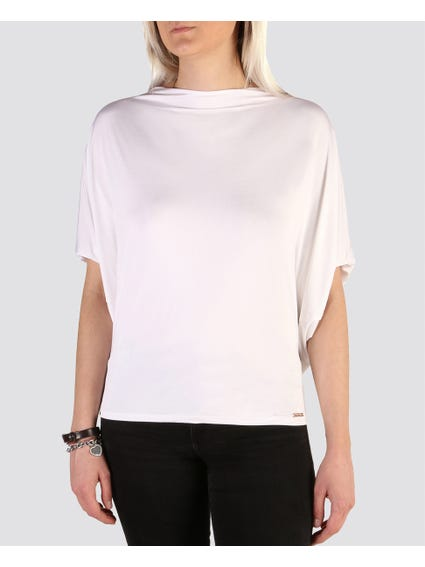 White Trendy Wide Neckline Tops