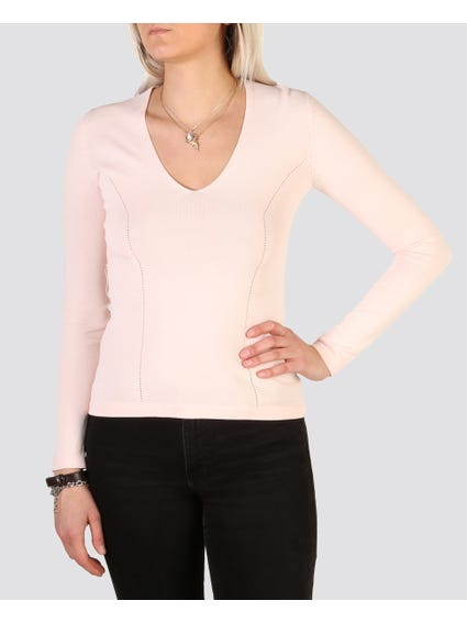 Pink Narrow Fitted Tops