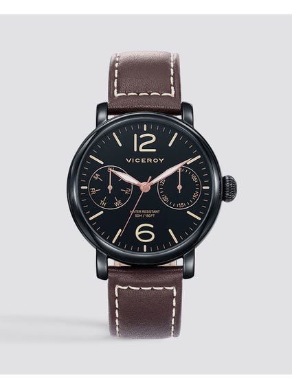 Stitched Black Dial Leather Watch