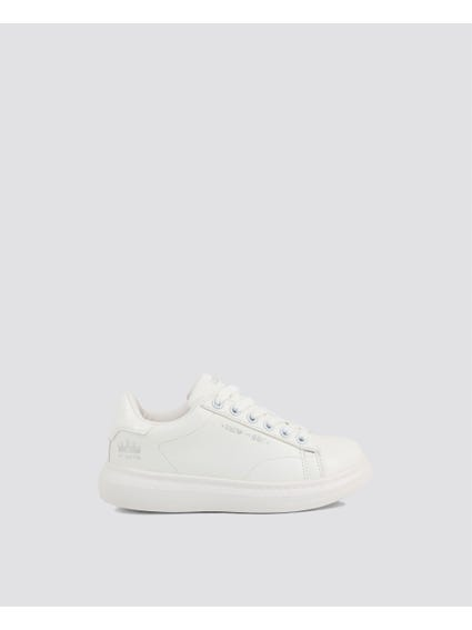 White Thick Kid Sneakers