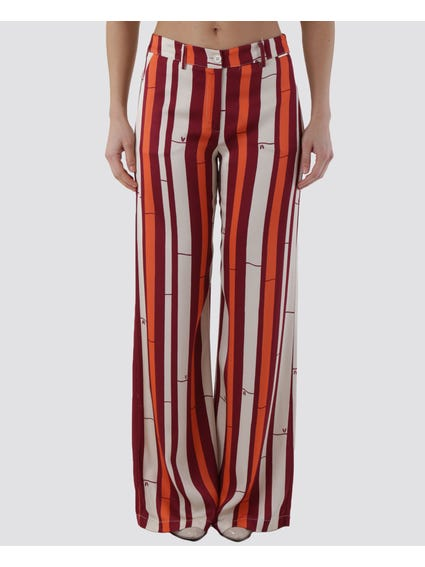Three Colored Stripes Wide Pants