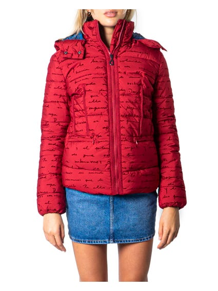 Red High Neck Zip Up Jacket