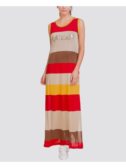 Red Colorblock Printed Maxi Dress