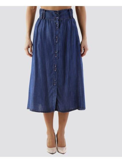 Front Button Denim Midi Skirt