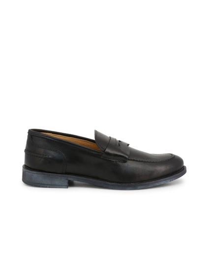 Black Leather Crust Slip On Moccasins