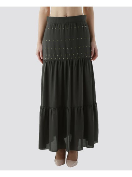 Green Metal Eyelet Maxi Skirt