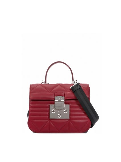 Red Buckle Quilted Crossbody Bag