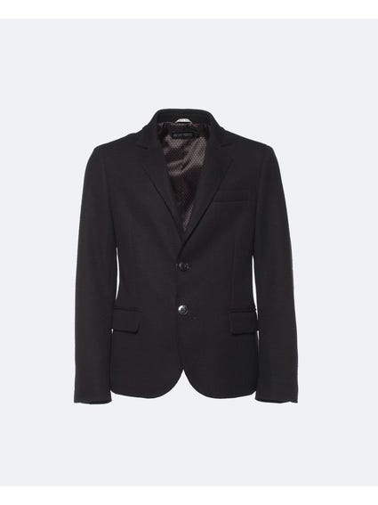 Black Collar Neck Button Kids Blazer
