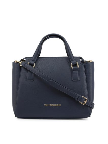 Navy Blue Leather Side pockets Handbag