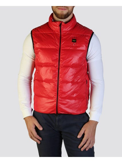 Red Padded Sleeveless Jacket