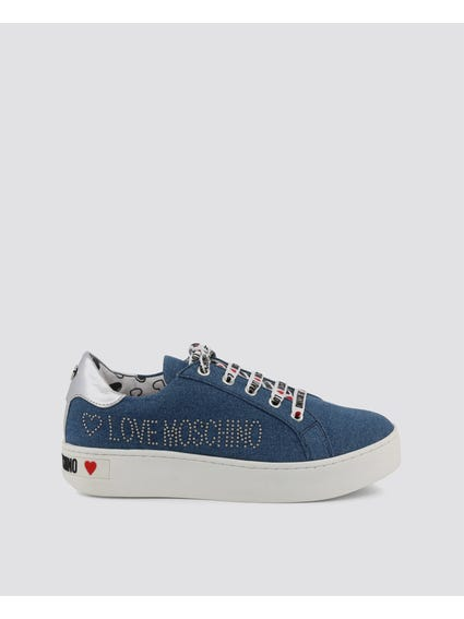 Blue Studs Lace Up Sneakers
