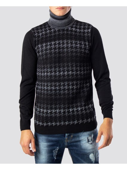 Black Abstract Print Knitwear
