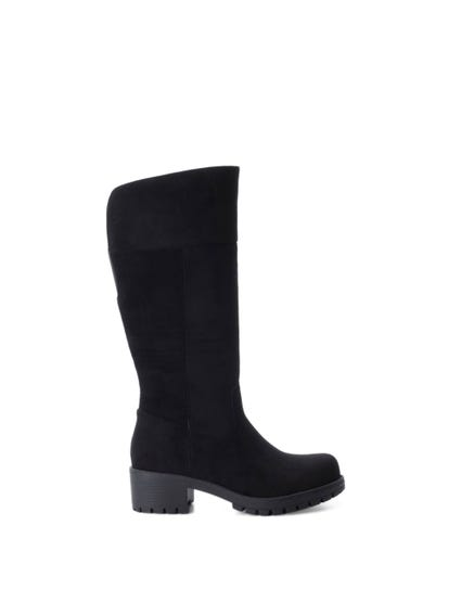 Black Suede High Knee Boots