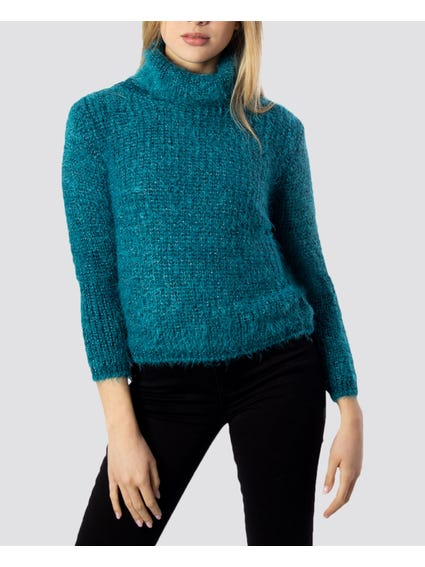 Green Puff Sleeves Knitted Sweater